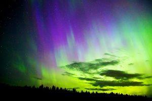 purple green aurora skyview